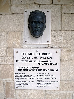 Federico Halbherr - Memorial to Halbherr at Hagia Triada
