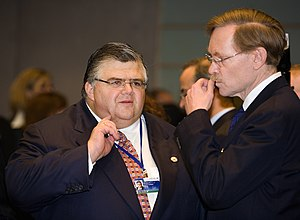 World Bank President Robert Zoellick (right) t...