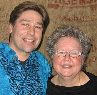 Christine Lavin - Lavin with New Jersey coffee entrepreneur and music promoter Ahrre Maros in 2006.