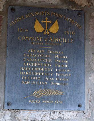 Aincille - Aincille War Memorial