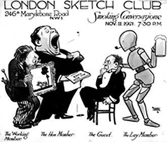 """Alfred Leete - Invitation to one of the regular """"smoking"""" evenings at the London Sketch Club, dated at 11 November 1921. Designed by Alfred Leete."""