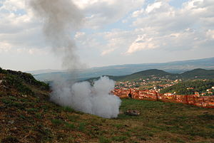 Sinjska alka - Whenever Alkar hits the middle (U sridu), a cannon placed on the mountain above Sinj shots