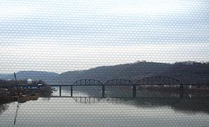 Brilliant Branch Railroad Bridge - The Brilliant Branch Railroad Bridge, as viewed from the Highland Park Bridge.