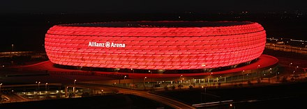 The Allianz Arena, one of the world's most famous football stadiums Allianz arena at night Richard Bartz.jpg