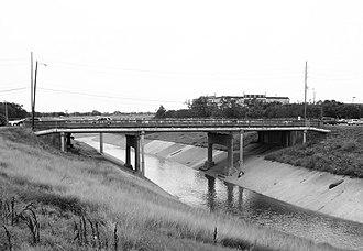 Brays Bayou - Almeda Road bridge over Brays Bayou near Hermann Park.