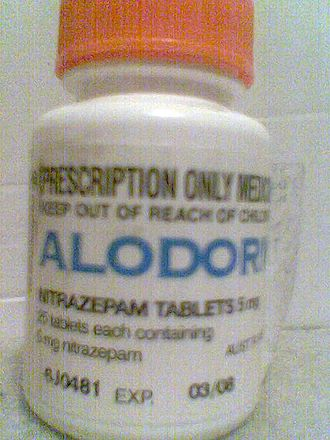 Nitrazepam - Alodorm bottle containing 25 tablets of 5mg Nitrazepam.