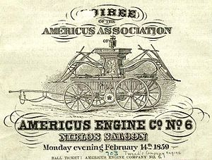 "William M. Tweed - Ticket to an 1859 ""soiree"" to benefit Tweed's Americus Engine Co."