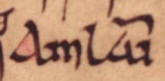 Lagmann mac Gofraid - The name of Amlaíb mac Lagmainn, Lagmann's apparent son, as it appears on folio 36v of Oxford Bodleian Library Rawlinson B 489 (the Annals of Ulster).