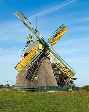 Amrum windmill near Nebel, historic building and landmark of the North Frisian Island of Amrum