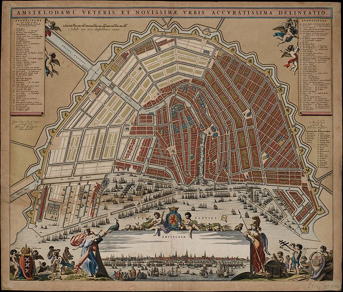 A map showing Amsterdam with its canals from 1662