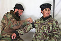 An Afghan National Army soldier applies a tourniquet during medical training at Forward Operating Base Airborne, Wardak province, Afghanistan, Nov. 5, 2012 121105-A-RT803-089.jpg