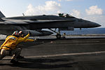 An FA-18C launches from USS Dwight D. Eisenhower..jpg