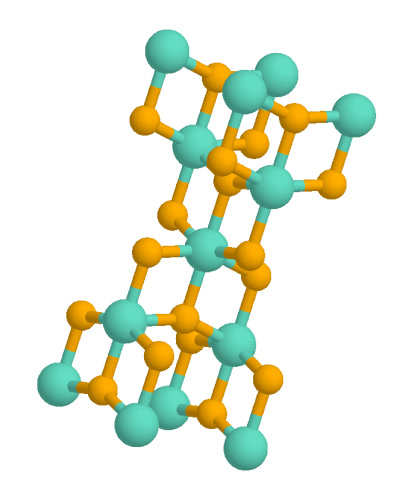 A ball-and-stick chemical model of an anatase crystal