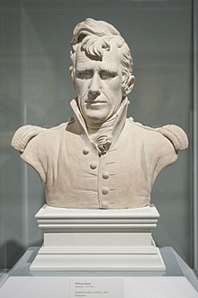 Bust of Jackson in military uniform. Hair is wavy and falls partway down the forehead.