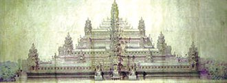 Baphuon - Pen and watercolor reconstruction of what the temple may have looked in the 11th century by Lucien Fournereau in 1889
