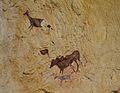 Animals de l'escena de caça de la cova dels Cavalls, reproducció al museu de la Valltorta.JPG