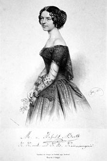 Anna Maria Wilhelmine van Hasselt-Barth, Lithographie von Franz Eybl, 1851 (Quelle: Wikimedia)