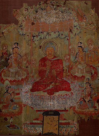 An 8th-century silk wall scroll from Dunhuang, showing the paradise of Amitabha Anonymous-Describing the Doctrine Under a Tree.jpg