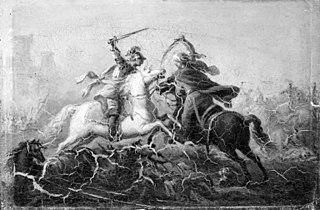 En kristen og en tyrkisk ridder kæmper til hest