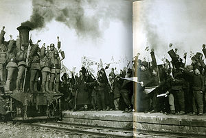Taiyuan - Chinese soldiers and civilians celebrating the victory at Pingxingguan in 1937