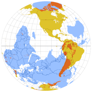 "Antipodes - The same map, from the perspective of the Western Hemisphere. Here the blue areas can be considered to be opposite reflections of the yellow areas but on the inner ""surface"" of the globe of Earth"