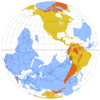 """Antipodes - The same map, from the perspective of the Western Hemisphere. Here the blue areas can be considered to be opposite reflections of the yellow areas but on the inner """"surface"""" of the globe of Earth"""