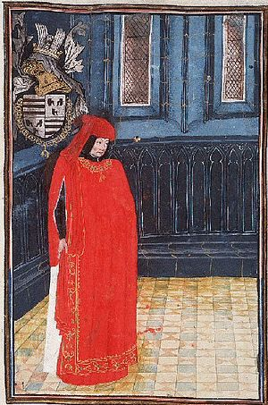 Croÿ - Antoine I le Grand, as represented on a miniature (ca. 1390)