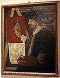 Antonio Montanari, Portrait de Hugo de Carpi (xviie siècle), Carpi, musée du Castello dei Pio1 (Hugo de Carpi, à la droite, peint avec le doigt).