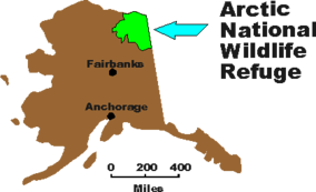 Map showing the location of Arctic National Wildlife Refuge