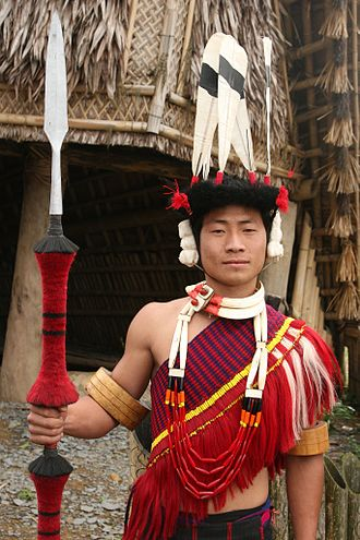 Adivasi - Naga man dressed in traditional attire from Nagaland
