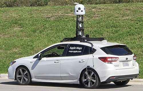 An Apple Maps Subaru Impreza data and image collection vehicle in September 2019. Apple Maps Car 2019.jpg