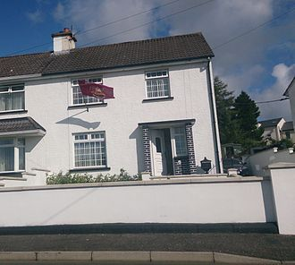 Apprentice Boys of Derry - A house in Claudy flying an Apprentice Boys of Derry flag.