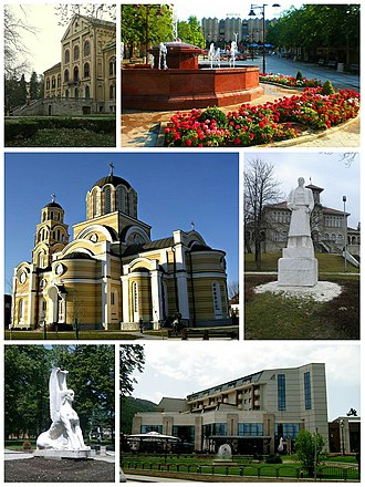"""Aranđelovac - Aranđelovac- collage of image (Prince Mihailo's summer residence, The Main Square in Aranđelovac, Orthodox Church of the Holy Apostles Peter and Paul in Aranđelovac, Monument of Karađorđe in front of school in Orašac near Aranđelovac, Monument of sphinx in the park of Bukovička Banja Spa, Hotel ,,Source"""")"""