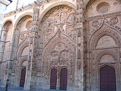 The influence of Islamic architecture on the Gothic can be most clearly seen in Spain, as here at Salamanca Cathedral.