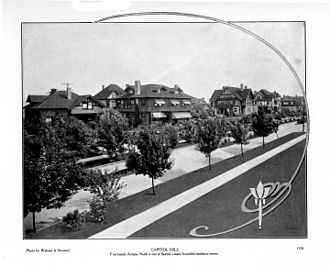 Capitol Hill (Seattle) - View of Fourteenth Avenue, an area known as Millionaore's Row (published 1909 in an Alaska-Yukon-Pacific Exposition pamphlet