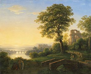 Paysage d'Arcadie avec château, ruine et ponts