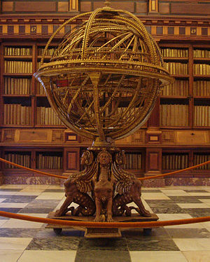 Science and technology in Spain - Armillary sphere, Library of El Escorial.