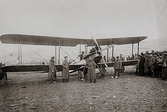 Armstrong Whitworth F.K.3 - Bulgarian Aviation Corps Officers and soldiers gathered around a captured FK.3 in 1917.