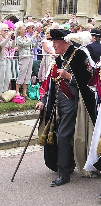 Valerian Wellesley, 8th Duke of Wellington - The 8th Duke of Wellington wearing his robes as a Knight Companion of the Order of the Garter at Windsor Castle (2006)