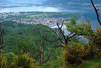 Gordola - View of Lago Maggiore. Foreground (l-r) Locarno, Ascona. Background (l-r) Tenero-Contra, Gordola, Gambarogno