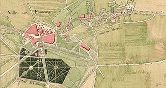 Château du duc d'Épernon - The city of Fontenay and the château du duc d'Épernon around 1750