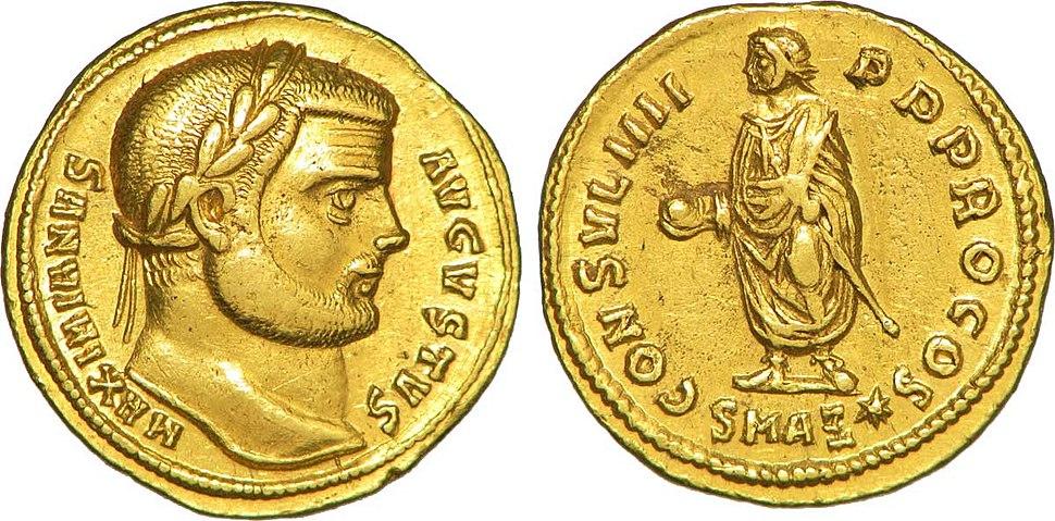 Aureus à l'effigie de Maximien Hercule