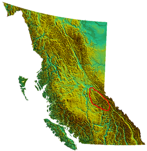 Cariboo Mountains - Image: BC relief Cariboomtns