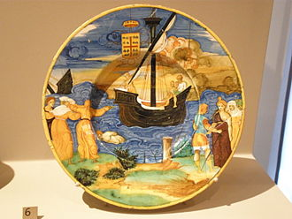 Anne de Montmorency - Dish with a scene of the Trojan War, from a large armorial service of maiolica commissioned by Montmorency from Guido Durantino of Urbino, 1535