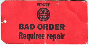 Glossary of rail transport terms - An example of a BNSF Railway bad order repair tag