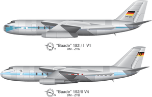 Baade 152 - Sketch of the two prototype variants of the 152 that flew between 1958 and 1961