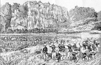 Ambush - The Bắc Lệ ambush: French marine infantry deploy beneath the Nui Đồng Nai cliffs in 1884