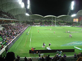 Melbourne Rectangular Stadium - Stadium from the north (Olympic Boulevard) end
