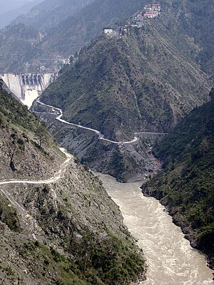 Photograph of Baglihar Dam on river Chenab in ...