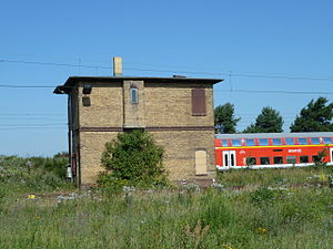 Großbeeren station - Former signal box in the marshalling yard